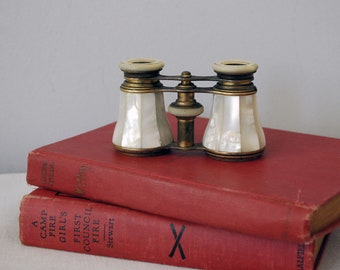 Mother of Pearl Opera Glasses, Antique Binoculars or Horse Racing Glasses, Victorian Industrial Decor
