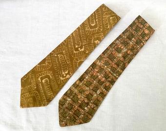 1980s Batik Tie, One Vintage Handmade Tie or Sash, Olive, Brown, and Orange Boho Accessories