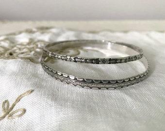 2 Sterling Silver Bangle, Vintage Skinny Bracelets, Mexico silver
