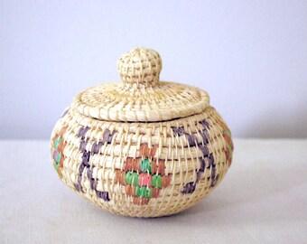 Vintage Coiled Basket, Handmade Grass and Raffia Woven Basket, Tribal Folk Art
