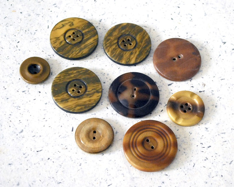 9 Celluloid Tight Top Buttons Vintage Brown and Gold Button Lot Sewing or Craft Supplies