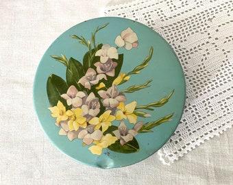 Flowered Tin Box, Mid Century Turquoise Tin, Shabby Chic Decor, Vintage Storage Container