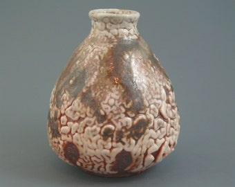 Tokkuri, wood-fired stoneware w/ crawling shino, oribe, iron slip and natural ash glazes