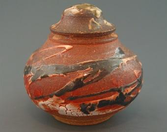Covered Jar, wood-fired stoneware w/ crawling shino, tenmoku, celadon and natural ash glazes