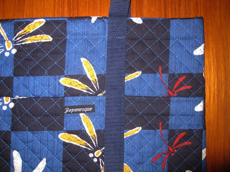 Laptop Book Tote Japanese Dragonflies Tombo Design Quilted Fabric Blue and Navy