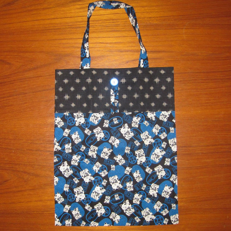 Cat Maneki Neko Design Tuck and Roll Fold-Up Portable Shopping Tote Japanese Fabric Blue