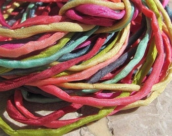 SEA SHELLS Pink Silk Cords Bulk Listing Hand Dyed and Hand Sewn Strings Great Silk Wraps or Kumihimo Braids Jewelry Cording Qty 6 to 24