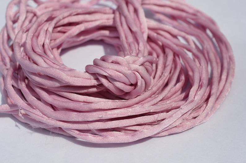 Silk Cord Hand Dyed Silk Cording Pastel Pink Jewelry Craft Stringing Pink Silk Strings LIGHT RASPBERRY PINK Silk Cords 3-4mm x 3 Yards