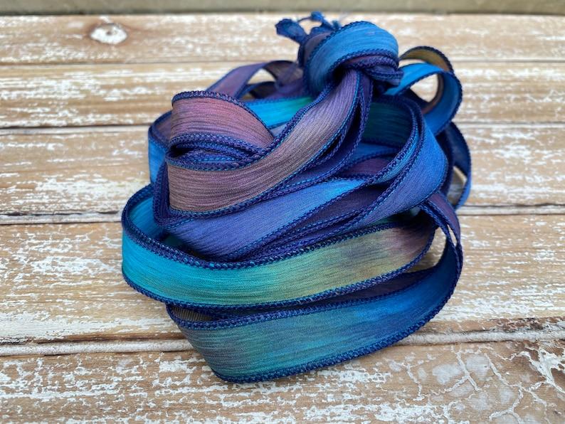 Stringing Supplies Navy Aqua Green Purple Blue Moon Silk Ribbons Hand Dyed Silk Strings Crinkle Silk Watercolor Ribbon