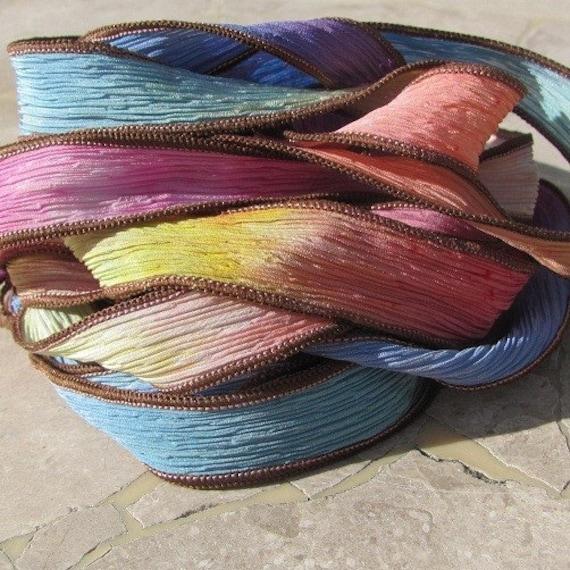 EYE CANDY soie ruban teint collier poignet Wrap chaînes aquarelle, ou idéal pour la soie ou aquarelle, des colliers Bracelets d'enveloppe 827684