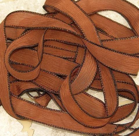 Rubans de soie marron chocolat, teint cousu cordes 5 cordes cousu cacao brun, idéal pour la soie s'enroule ou des colliers de 33bb25