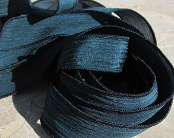 MIDNIGHT BLUE Silk Ribbons Qty 5, Hand Dyed 5 Strings Hand-Dyed Deep Dark AQUA Ribbon, Great  For Wrist Wraps or Necklace Ties