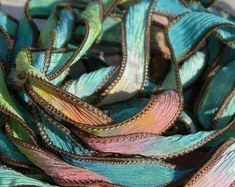 Hand Dyed Silk Ribbon Qty 5 Bracelet Wraps, SUMMER SIZZLE Watercolor Strings Crinkle Silk Ribbons Handmade Ribbons for Jewelry and Crafts