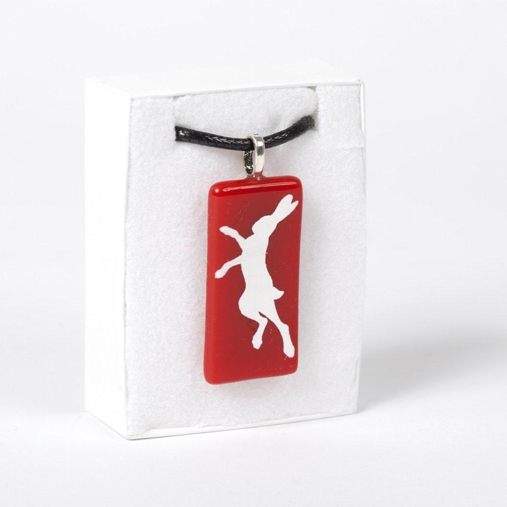 Glass Hare Necklace Enamel Custom Printed Colours Pendant on Cotton