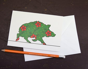 Red Dogrose Wild Boar Greetings Card
