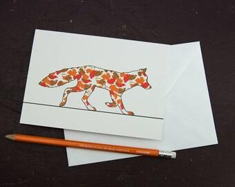 Autumn Leaves Fox Greetings Card