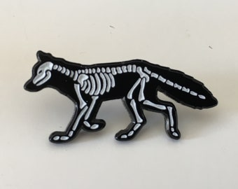 X-Ray Fox Enamel Pin Badge Brooch Glow in the Dark Skeleton