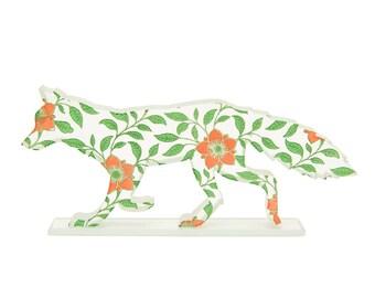 Dogrose Fox Glass Sculpture