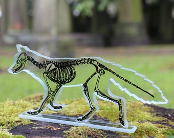 Skeleton Fox Glass Sculpture Screen Print Black Enamel