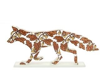 Acorns Fox Glass Sculpture