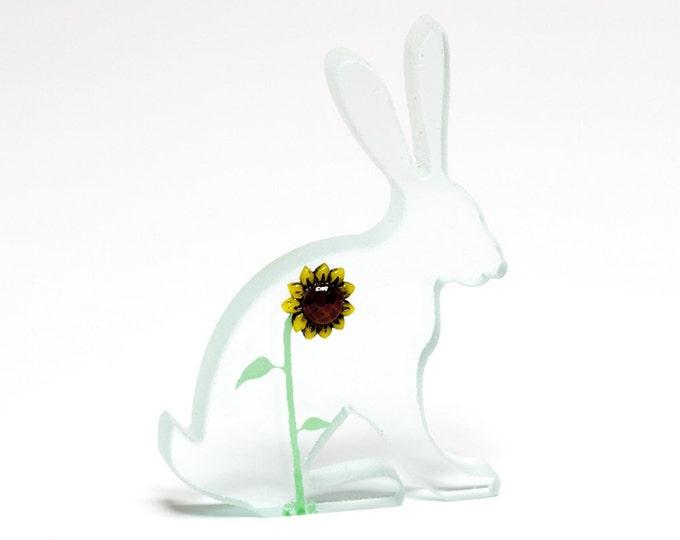 Sunflower Rabbit Glass Sculpture Hare Green Screen Printed Enamel