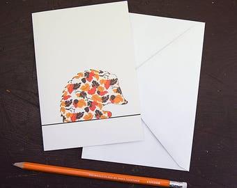 Leaves Hedgehog Greetings Card