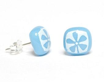 Flower Stud Earrings Glass Enamel Sterling Silver 925 Custom Colour