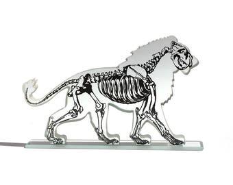 X-ray Lion Glass Sculpture Screen-Print Art Skeleton Bones