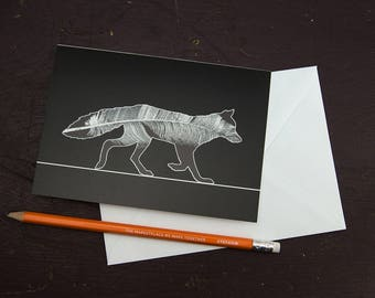 Feather Fox Greetings Card
