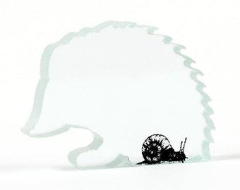 Snail Hedgehog Sculpture Glass Cut Out Print