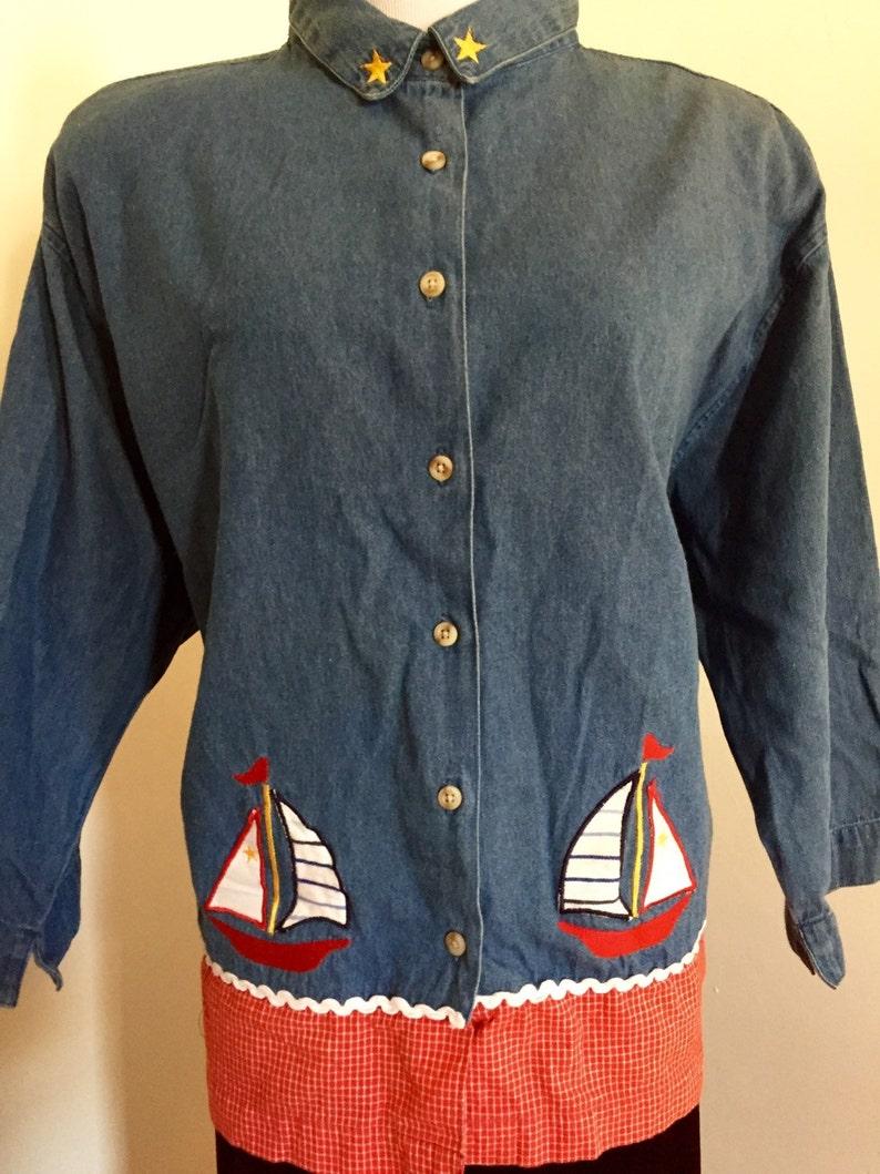 Vintage Plus Size Nautical Denim Shirt Jacket Blue Jean