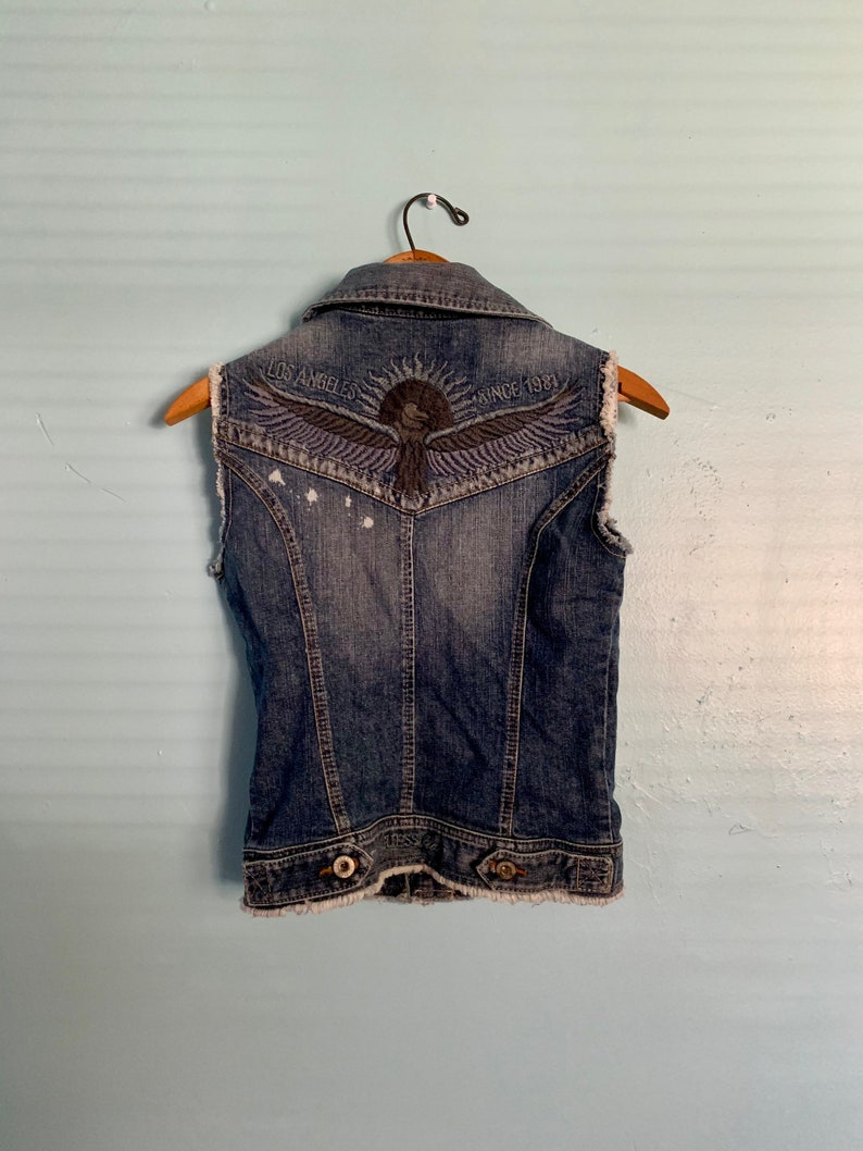 Vintage Guess Denim Blue Jean Vest Los Angeles 1981 Grunge