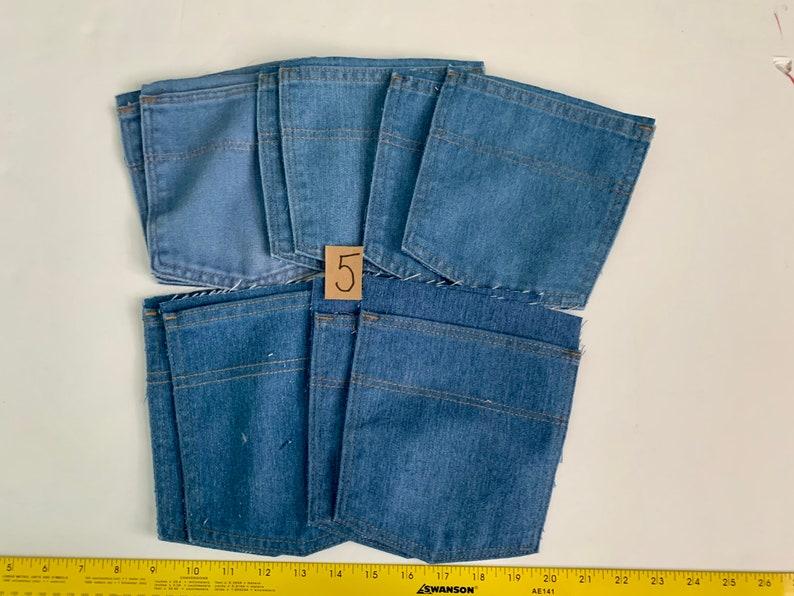 Pockets Reclaimed Salvaged Denim Blue Jean Back Pockets