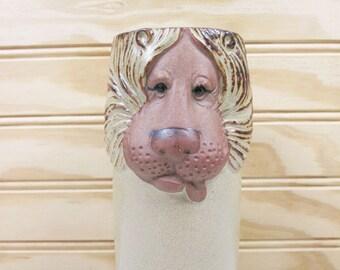 Vintage UCTCI Lion Vase Stoneware Pencil Holder Figurine Made In Japan Figural Retro