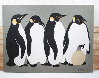 Vintage Penguins Silkscreen Print Fabric Art Wall Hanging Royal River Handprints 1970s