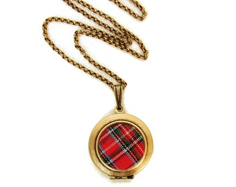 Balmoral Red tartan necklace handmade in France