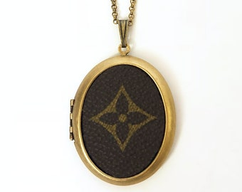 Authentic Up-cycled Louis Vuitton Fleur Icon Locket Necklace - made from vintage Original Monogram Canvas