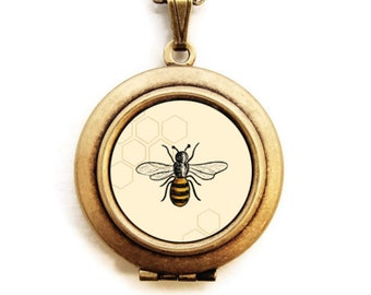 Art Locket - Bee Honeycomb Locket Necklace - Stocking Stuffer Gift for Her -A Lily and Val Collaboration
