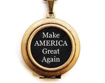 Make AMERICA Great Again Locket - Patriotic USA Word Wear Locket Necklace