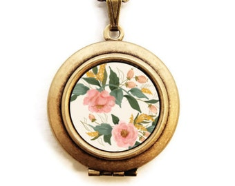 Art Locket - Floral Bouquet Pastel Colors Locket Necklace - Stocking Stuffer Gift for Her -A Lily and Val Collaboration