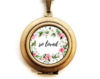so loved floral Locket - Statement Inspirational Word Wear Locket Necklace