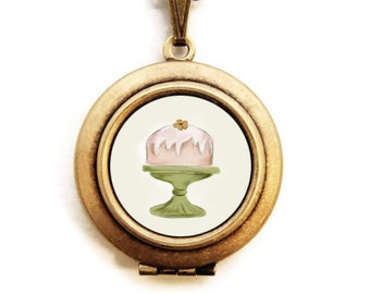 Art Locket - Let Them Eat Cake Locket Necklace - Stocking Stuffer Gift for Her -A Lily and Val Collaboration