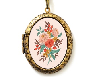 Art Locket - Hand Drawn Floral Art Locket Necklace - Deluxe Bouquet Edition - A Lily and Val Collaboration