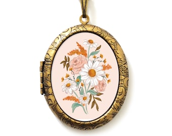 Art Locket - Hand Drawn Floral Art Locket Necklace - Deluxe Wildflower Edition- A Lily and Val Collaboration