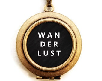 WANDERLUST Locket - DREAMY ADVENTURER Word Wear Locket Necklace