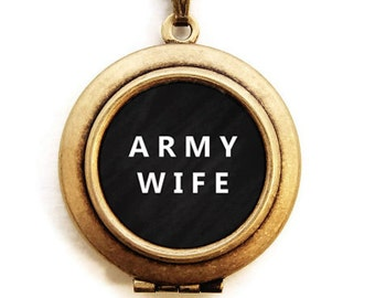 ARMY WIFE Locket - Military Wife Word Wear Locket Necklace