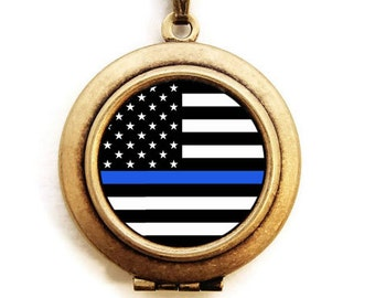 Blue Lives Matter Locket Necklace - Thin Blue Line Support Our Law Enforcement Officers