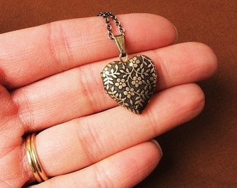 Forget Me Not - Tiny Heart Locket Necklace - The Perfect Gift - Birthday Gift - Mother's Day Gift - Graduation Gift - Hostess Gift