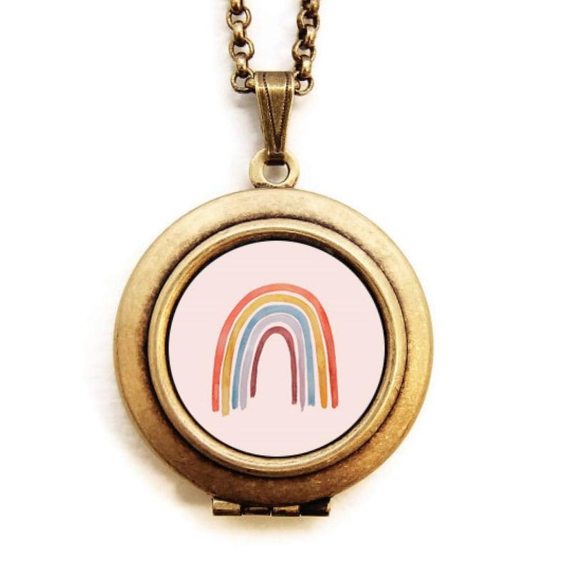 Art Locket  Rainbow Locket Necklace  Stocking Stuffer Gift image 0