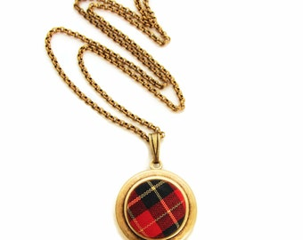 Tartan Plaid Locket - Vintage Red Plaid Scottish Fabric Locket Necklace